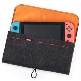 Nintendo Switch Gri Taşıma Çantası Keçe - Oyun Bölmeli Çanta