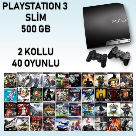 Ps3 500 GB Slim 40 Oyun + 2 Kol Gta Fifa Pes Blur Minecraft